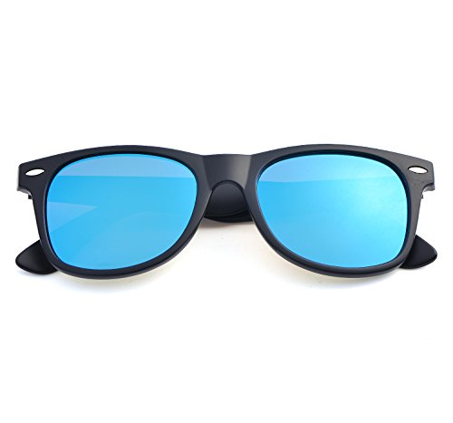 YANQIUYU 2140 Retro Classic Polarized Wayfarer Sunglasses Unisex Square Frame,UV400 (Blue Mirrored Lens/Matte Black Frame, - Stores Fashion Mall Square