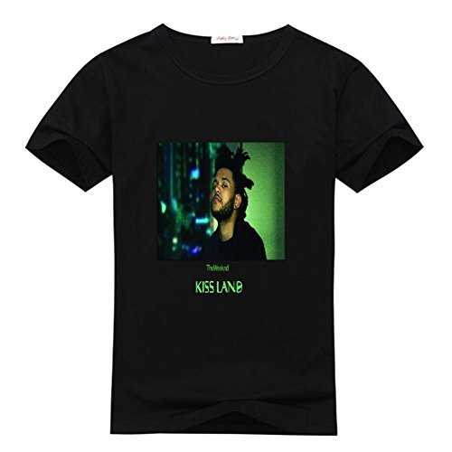 Price comparison product image ANyShopping republic the weeknd kiss land cd girl's Crew Neck Tee shirt Black M(10-12Y,Chest:84cm)