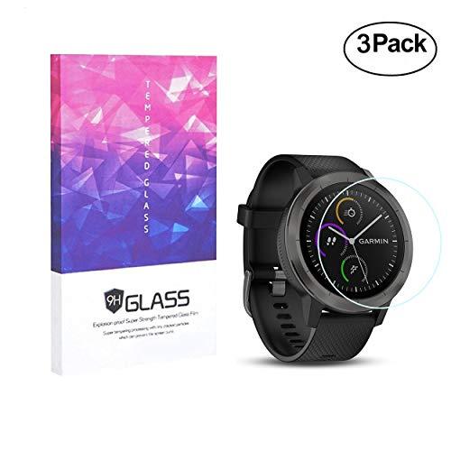 [3 Pack] Garmin Vivoactive 3 Screen Protector 9H Temper Glass, Addprime Anti-Bump Scratch Resistant HD Screen Protector for Garmin Vivoactive 3