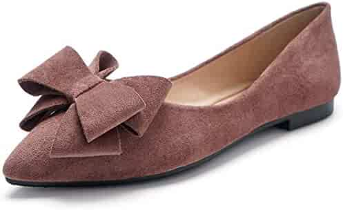 ALLAK Womens Square Toe Bowknot Ballet Comfort Slip on Flats Shoes