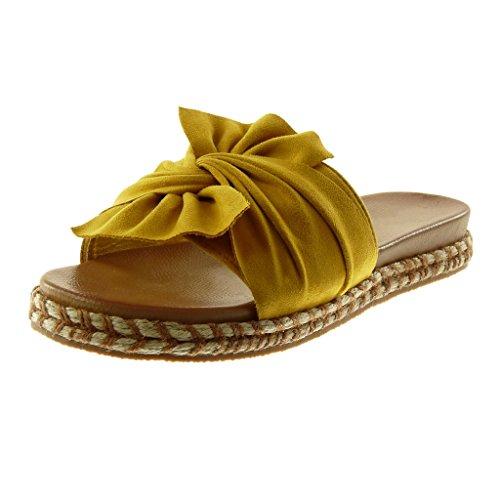 Punottu Solmu Slip Solmu Naisten Muulin Angkorly Johto on Sandaalit Tasainen Kengät 3 Kantapään Muoti Sinappi Cm 0vd0wXq8
