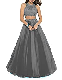 D.W.U Two Piece Appliqued Long Party Ball Gown Prom Dresses
