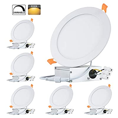 TONNLED Ultrathin Dimmable LED Recessed Ceiling Light, Wafer Downlight, Pack of 6