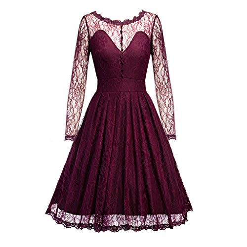 HYIRI Spring Vintage Country Rock Dress,Women's Lace Vintage Fluffy Cocktail Dress Red -