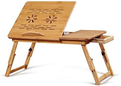 折りたたみ テーブル ファンの折り畳み式の朝食は、ベッドトレイ引き出しをサービングの小さなデスクを冷却折り畳み式ベッドを持ち上げるノートPCデスクアジャスタブルシンプル ローテーブル ミニ (Color : Wood, Size : M)
