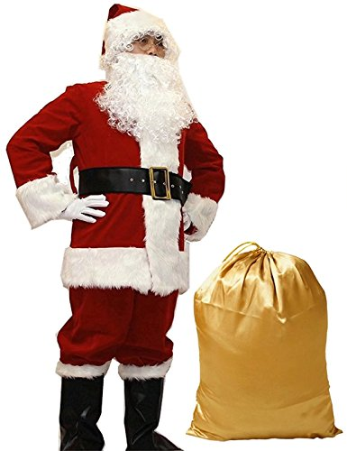 10 Pcs Complete Deluxe Velvet Christmas Santa Claus Costume Suit Adult (XL, Red) by Zollzirr (Image #1)