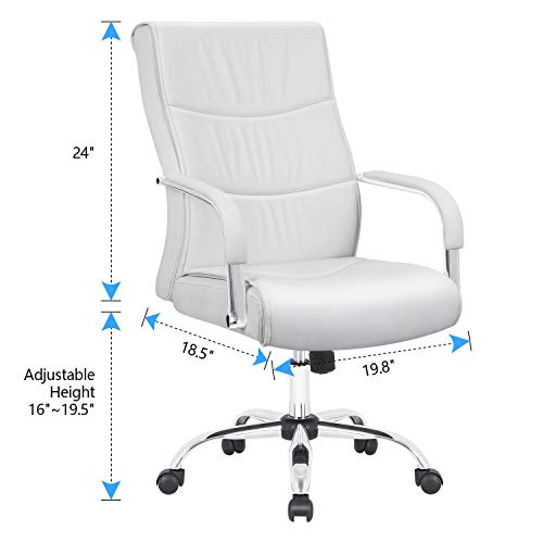 Furmax High Back Office Desk Chair Conference Leather Executive with Padded Armrests,Adjustable Ergonomic Swivel Task Chair with Lumbar Support(White) by Furmax (Image #6)
