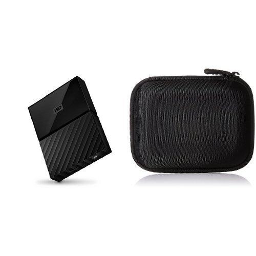 WD 4TB Black My Passport  Portable External Hard Drive - USB 3.0 - WDBYFT0040BBK-WESN & AmazonBasics Hard Carrying Case for My Passport Essential