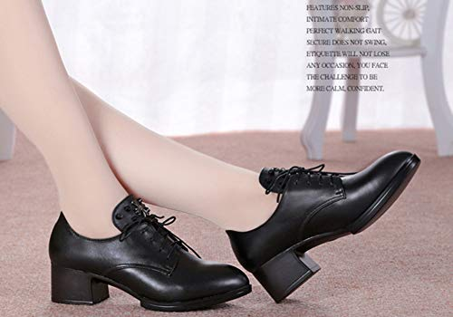 talon Femme Bout Aisun Mi Noir Rond Richelieus Mode Travail 4cm 6BA1fw