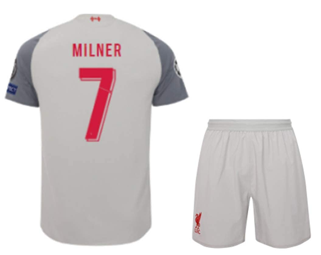 ZXAOYUAN Milner #7 Mens Third Soccer Jersey /& Short Kit Grey