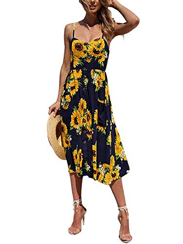 - SWQZVT Women's Dress Summer Spaghetti Strap Sundress Casual Floral Midi Backless Button Up Swing Dresses with Pockets Dark Blue 3XL