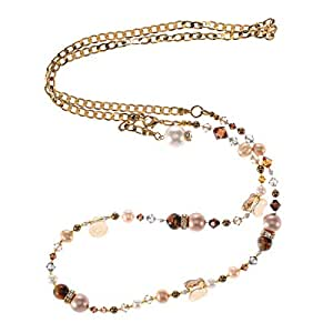 Crystal Diva Women's Gold Brown and White Pearls and Swarovski Elements Long Chain