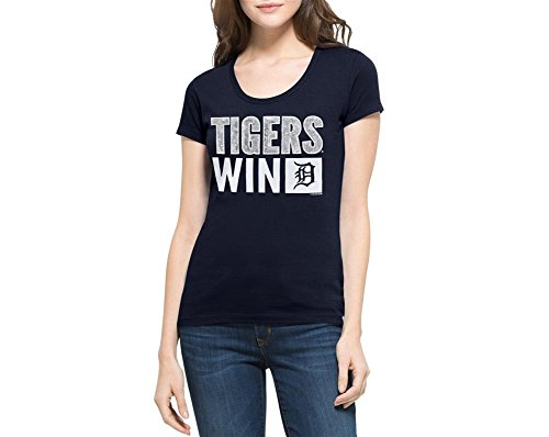 '47 MLB Detroit Tigers Women's Sparkle Scoop Neck Tee, Small, Fall Navy