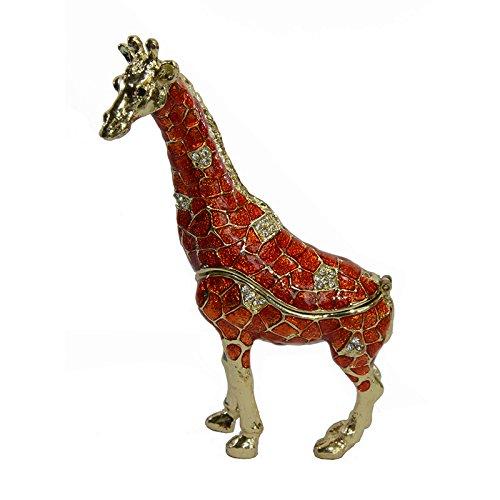 Jiaheyou Standing Giraffe Jewelry Trinket Box Metal Decoration Animal Figurine Necklace Holder