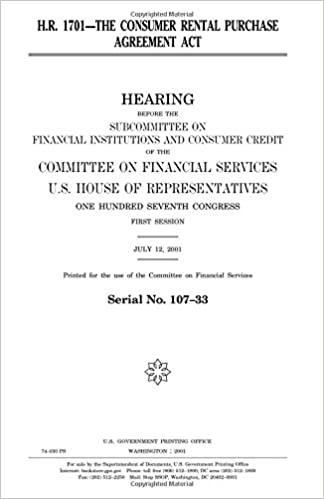 Hr 1701 The Consumer Rental Purchase Agreement Act United States