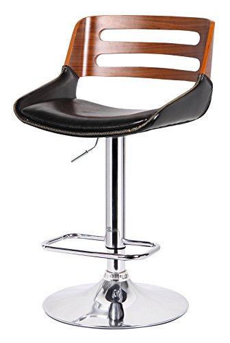 New Pacific Direct Shelton Gaslift Bar Stool,Chrome Legs,Black/Walnut