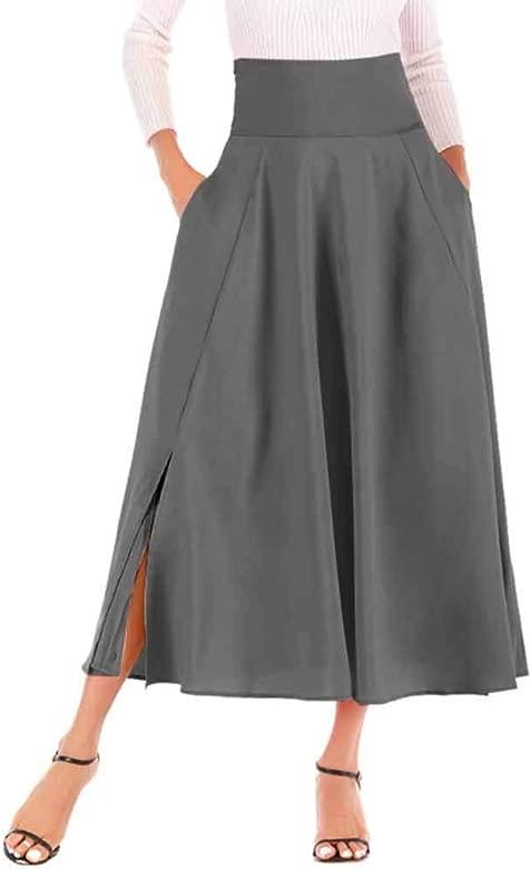 CHIYEEE Mujer Midi Plisada Básica Falda con Bolsillos Gris Oscuro ...