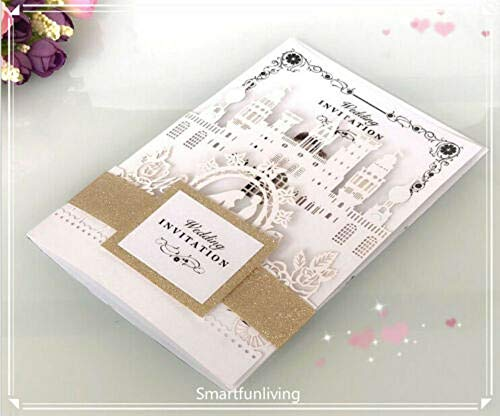 10PCS Card with Belt White Laser Cut Wedding Invitations Cards Wedding Birthday Engagement Greeting Tksmart from Unknown