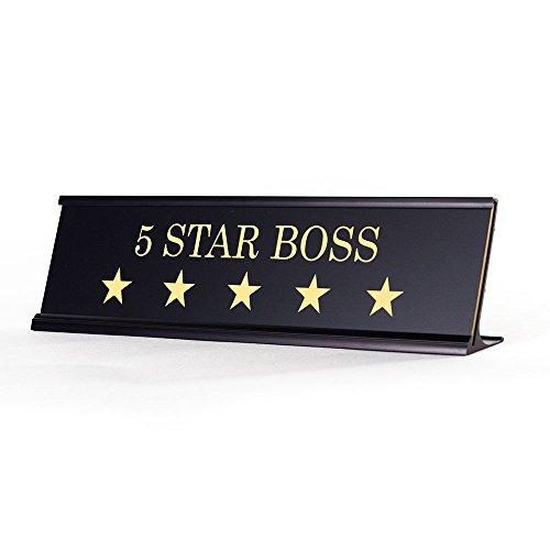 5 Star Boss - Black Desk Name Plate for Boss