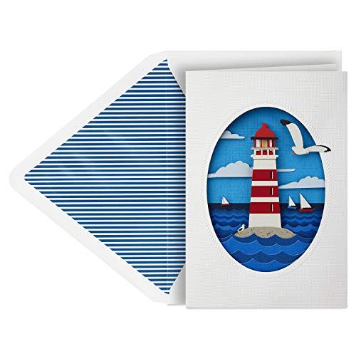 Hallmark Signature Blank Card, Lighthouse (Birthday Card, All Occasion Card)