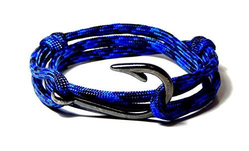Blue Sky Outdoor Gear Men's Women's Nautical Fish Hook Bracelet Denim Gunmetal Fish Hook Adjustable ...