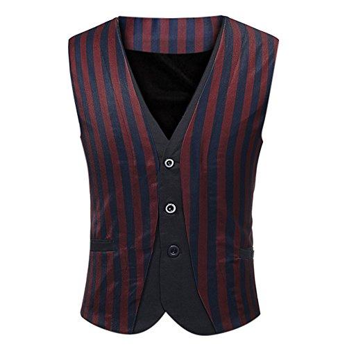 Men Tops Blouses Hot WEUIE Men Stripe Casual Printed Sleeveless Jacket Coat British Suit Vest Blouse (5XL, Red) by WEUIE