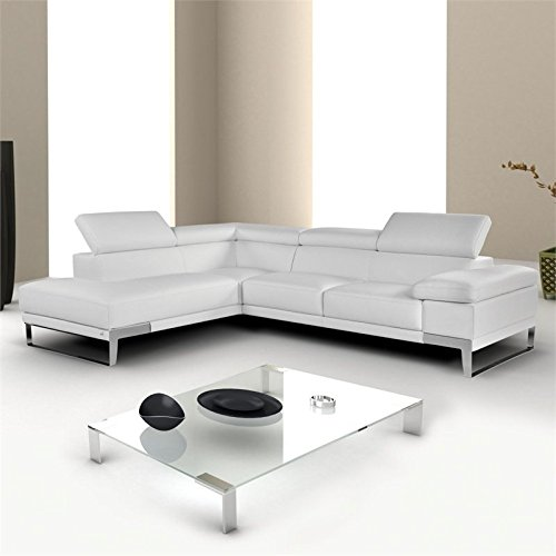 Beau JM Furniture Nicoletti Domus Leather Left Sectional In White