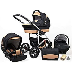 Lux4Kids 3 in 1 Combi pram Pushchair Stroller Complete Set with car seat Isofix Larmax Black & Beige 3in1 with Baby seat