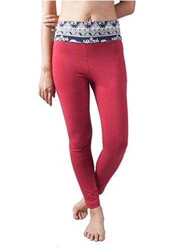 Elastica Cintura Blu Rosso Donna Risvolto E Yoga Lofbaz Pantaloni n1qpxwHtC