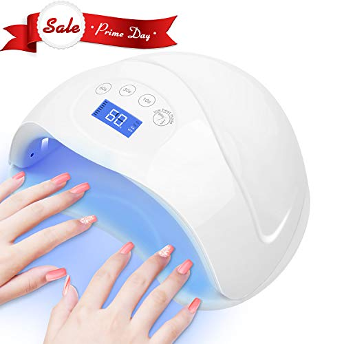 CHIMOCEE UV LED Nail Lamp, 48W or 24W Super Size Curing Lamp with 4 Time Setting Mode, Automatic Sensor Nail Dryer for Both Two Hands or Feet (White)