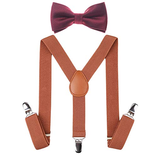 - Child Kids Suspenders Bowtie Set - Adjustable Suspender Set for Boys and Girls (Brown+Wine red bowtie, 30Inches (6 Years to 5 Feet Tall)