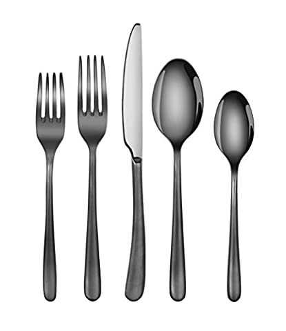 Artaste 57003 Rain II Forged 18/10 Stainless Steel Flatware 20-Piece Set, Black Finshed, Service for - Stainless 2 Dinner Knives