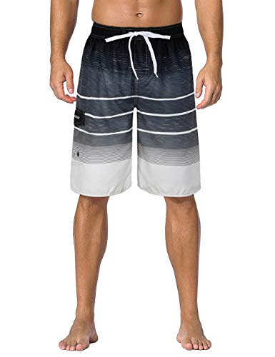 - Unitop Men's Swim Shorts Striped Water Sports Beach Shorts with Lining Gray-239 34