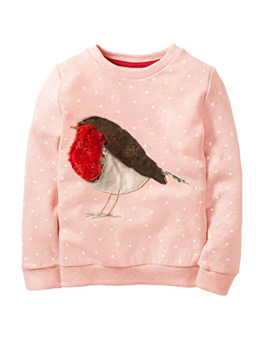 HUAER&& Baby Girl Cotton Long Sleeved Pullover Sweatshirt (4T(Height:39inch/100cm), Pink &Bird) (Infant Baby Girls Long Sleeved)