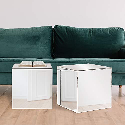 "Howard Elliott Mirrored Cube Table, 16""H x 16""W x 16""D, Clear"