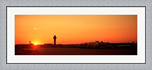 Sunset Over An Airport, O'Hare International Airport, Chicago, Illinois, USA by Panoramic Images Framed Art Print Wall Picture, Flat Silver Frame, 44 x 20 - Airport Images Chicago