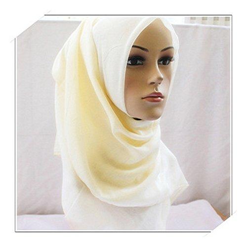Muslim Shawl Islamic Headscarf Muslim Scarf Summer Thin Headband Muslim Hijab - white , freeSize