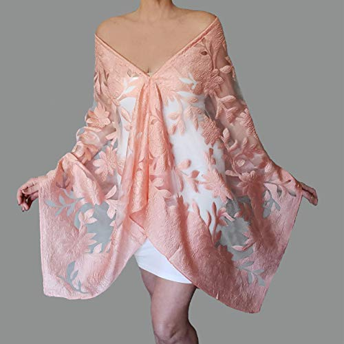Plus Size Peach Wedding Stole Sheer White Shawl Pastel Wrap By ZiiCi