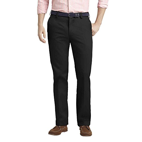 IZOD Men's Heritage Chino Straight Fit Flat Front Pant 38x34 Black by IZOD