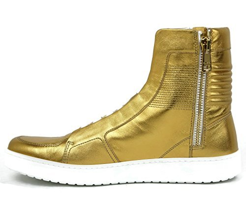 Gucci Men's Gold Leather Limited Edition High-top Sneakers 376193 (9.5 US / 9 G) - Gucci Sneakers For Men High Top