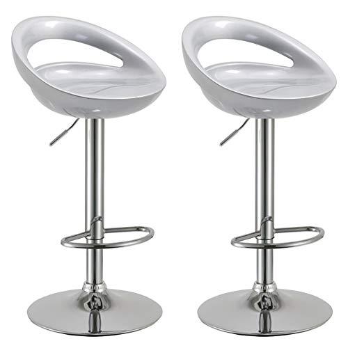 Duhome 2 PCS Swizzle Gloss Finish Crescent Shape Adjustable Swivel Bar Stools Kitchen Counter Top Silver