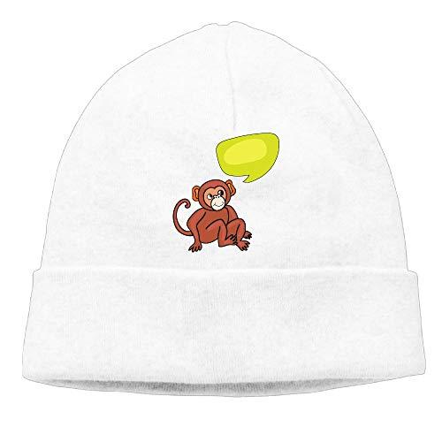Ghhpws Funny Monkey Beanie Wool Hats Knit Skull Caps Warm Winter Beanies for Men Women White
