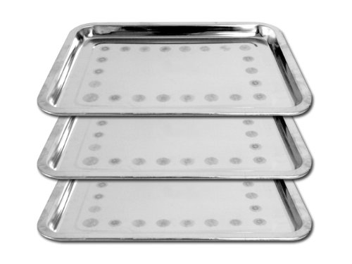 [Bundle of 3 Professional Permanent Makeup Stainless Steel Trays 10.25