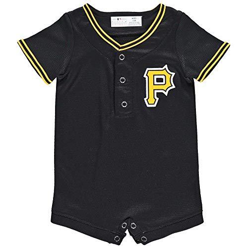Outerstuff MLB Newborn Infants Cool Base Home Alternate Romper Jersey (3/6 Months, Pittsburgh Pirates Alternate Black) ()