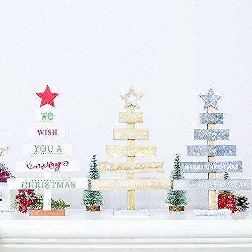 Qiusa Adornos de Navidad, Adornos de Navidad de Madera Mini Árbol de Navidad Adornos de Escritorio Feliz Fiesta de Navidad Decoración Árbol de Navidad ...