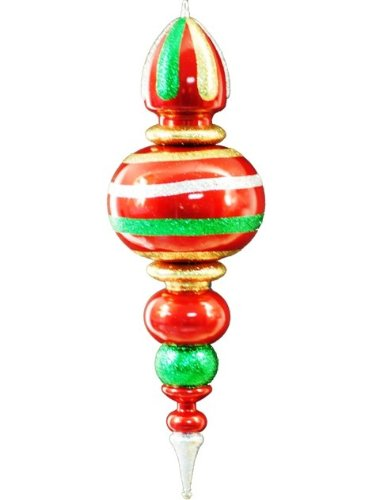 Queens of Christmas WL-FIN-31-GRG Plastic Oversized Shatterproof Finial Decorative Ornament, 31'', Green