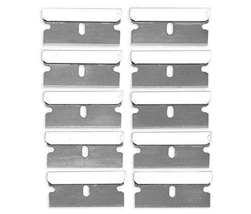 Katzco Razor Blades Single Edge -10 Pack - High-Grade Long Lasting Carbon Steel Single Edge Razor Blades Ideal for Standard Safety Scrapers, Removing Paint and Decals