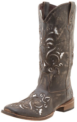 (ROPER Women's Laser Cut Metallic Underlay Boot, Tan/Silver, 6.5 M)