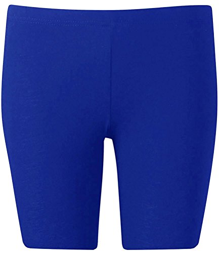 New Womens Plus Size Over Knee Plain Jersey Cycling Shorts ( Royal Blue, XL )