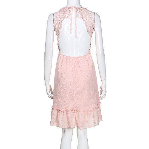 Sexy Vestido 2018 Elegante Corto Sexy de Fiesta Club Detrás para Vestidos Rosa Casual Túnica de Escotado por Mini Verano Playa Mujeres y Vestidos Ropa Camisa Vestir Mujer Vestido Mujer q6wERR